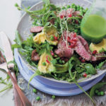 Red wine-marinated rump and rocket salad with a chive and mustard oil dressing