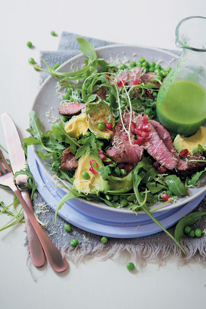 Red wine-marinated rump and rocket salad with a chive and mustard oil dressing recipe