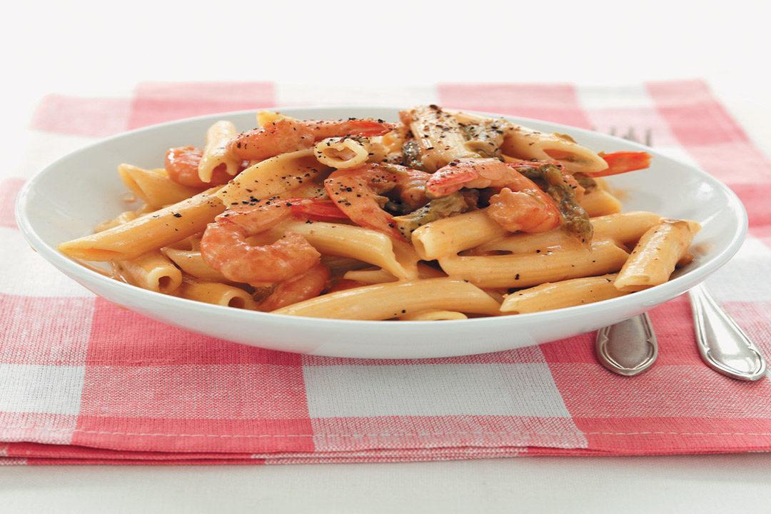 Asparagus, prawn and vodka pasta recipe