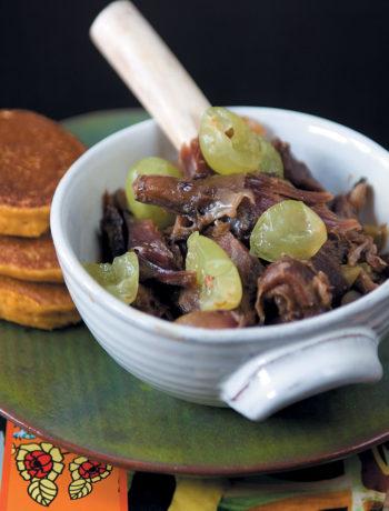 Braised springbok shanks with pumpkin fritters recipe