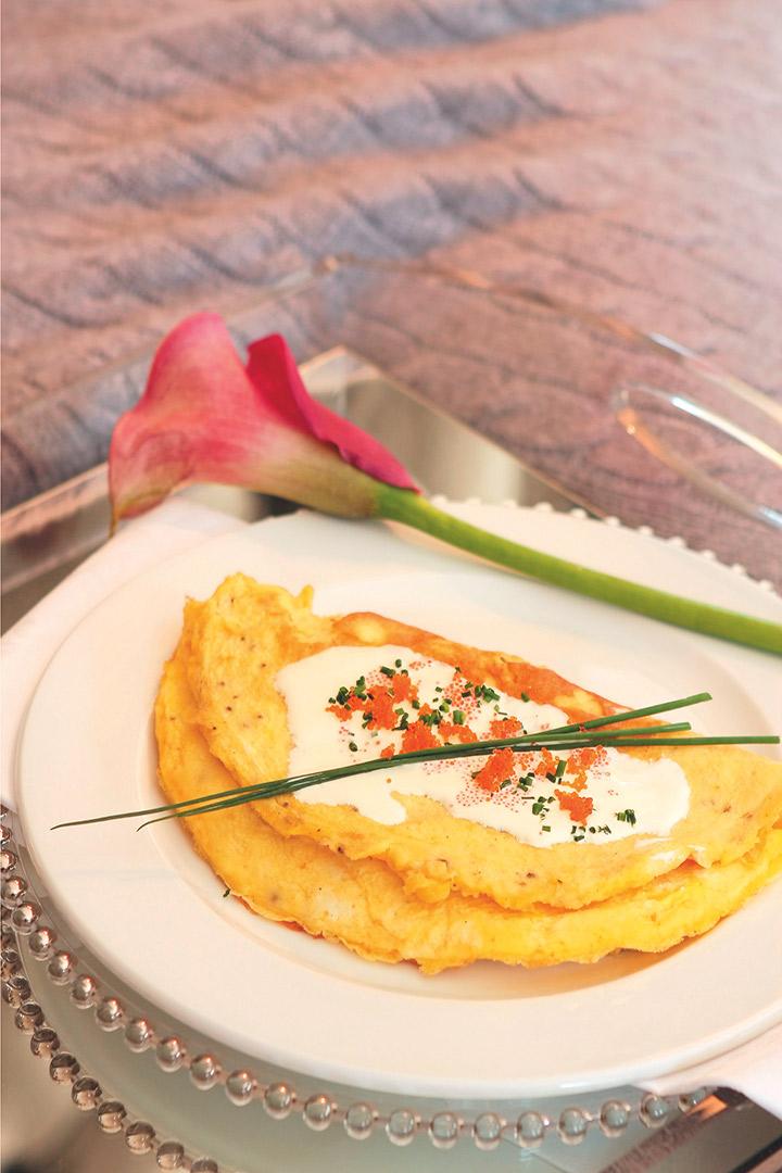 Caviar and lemon crème fraîche omelette recipe