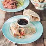 Chinese-style duck strips and pancakes