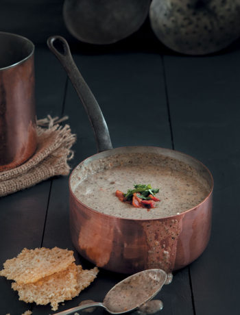 Cream of mushroom soup with Parmesan wafers