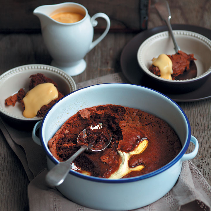 Gooey dark chocolate and ginger pudding