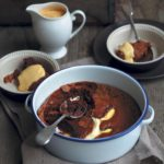 Gooey dark chocolate and ginger pudding