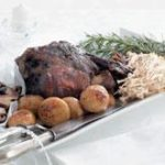 Leg of Lamb with potatoes and mixed mushrooms