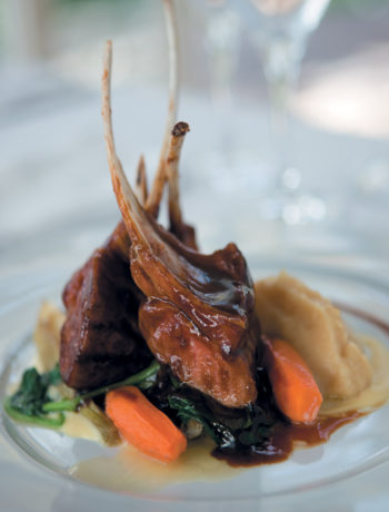 Liquorice lamb with roasted carrots, vanilla parsnip mash, wilted spinach, potato cream and carrot jus recipe