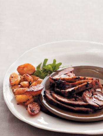 Mint, ginger, garlic and honey-glazed roast lamb recipe