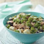 Minted chicken, broad bean, olive and feta couscous salad