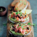 Rye with smoked trout and creamed avo