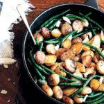 Pan-roasted potato and pesto green-bean salad