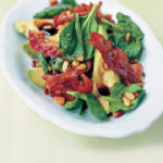 Avocado, pancetta and pine nut salad