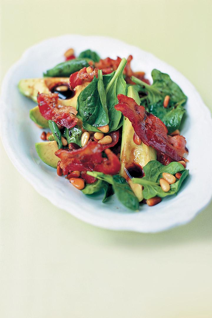 Avocado, pancetta and pine nut salad recipe