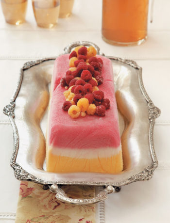 Layered fruit sorbet terrine with fresh berries and fruit coulis recipe