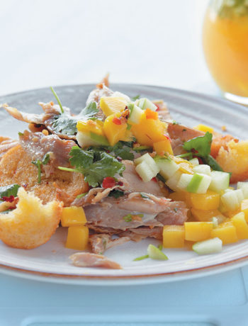 Mango, coriander chicken and chilli crouton salad with a mango and apple vinaigrette