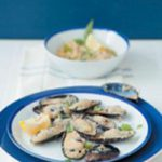 Mussels topped with skordalia (Greek garlic puree)