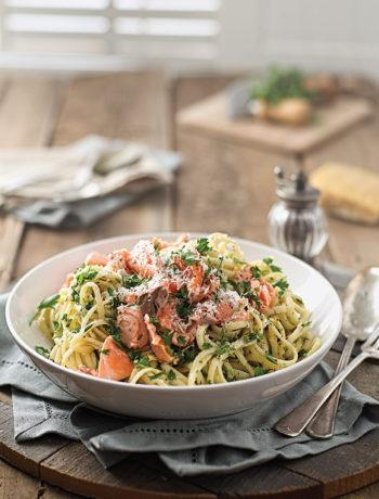 Salmon, chilli and lemon linguine recipe