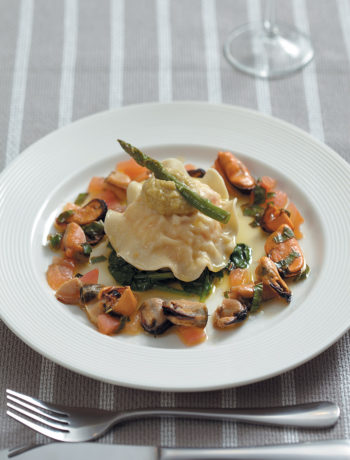 Seafood ravioli with fennel butter and mussel salsa recipe