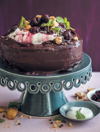 Chocolate-mayonnaise cake with cherries and dark-chocolate ganache
