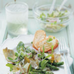 Artichoke, asparagus and ricotta salad with red onion dressing