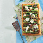 Asparagus, caramelised onion and Gorgonzola puff tart