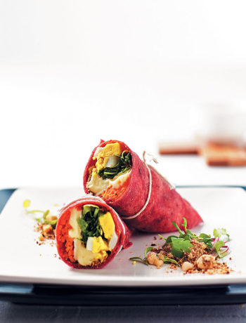 Beetroot wraps with goat's cheese, dukkah, carrots and boiled eggs recipe