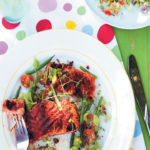 Blackened Cajun grilled salmon steaks with bloody Mary salsa salad