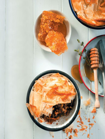 Braised honey beef short rib, walnut and filo pies recipe