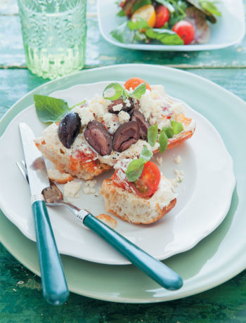 Bruschetta with tomato and garlic cream cheese, olives, feta and basil recipe