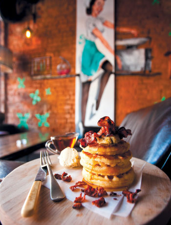 Buttermilk waffles with crispy bacon and spiced maple syrup recipe