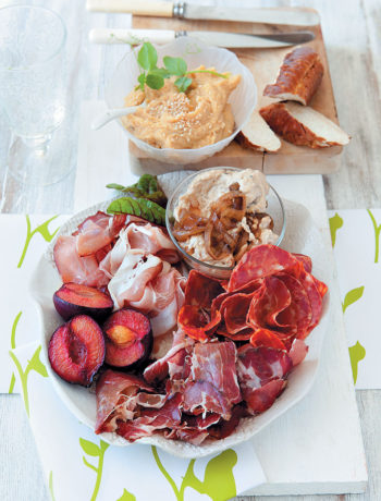 Charcuterie platter with hummus and creamy onion spread recipe