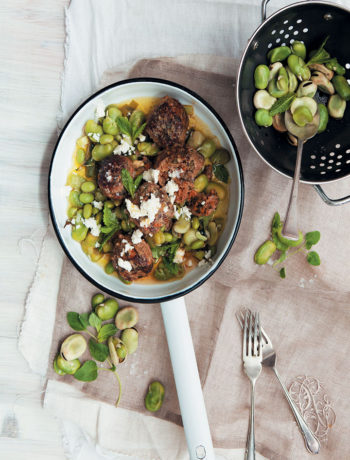 Chermoula lamb meatballs with broad beans, feta and mint recipe