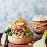 Chicken burgers with hummus and a fennel, celery and orange slaw