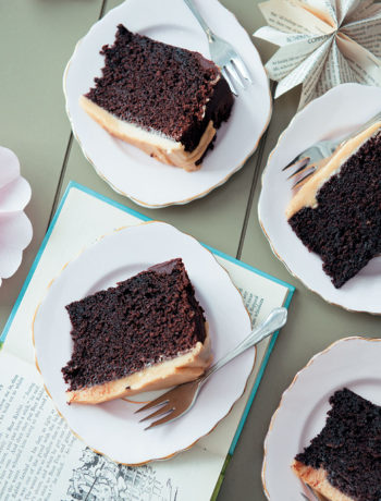 Chocolate fudge cake with caramel icing ('Welcome Baby' cake) recipe
