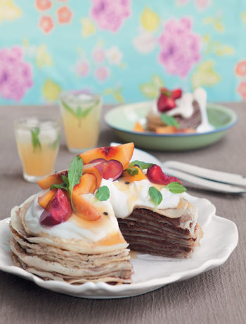 Chocolate ganache and butterscotch crepe cake with peaches, plums and granadilla pulp recipe