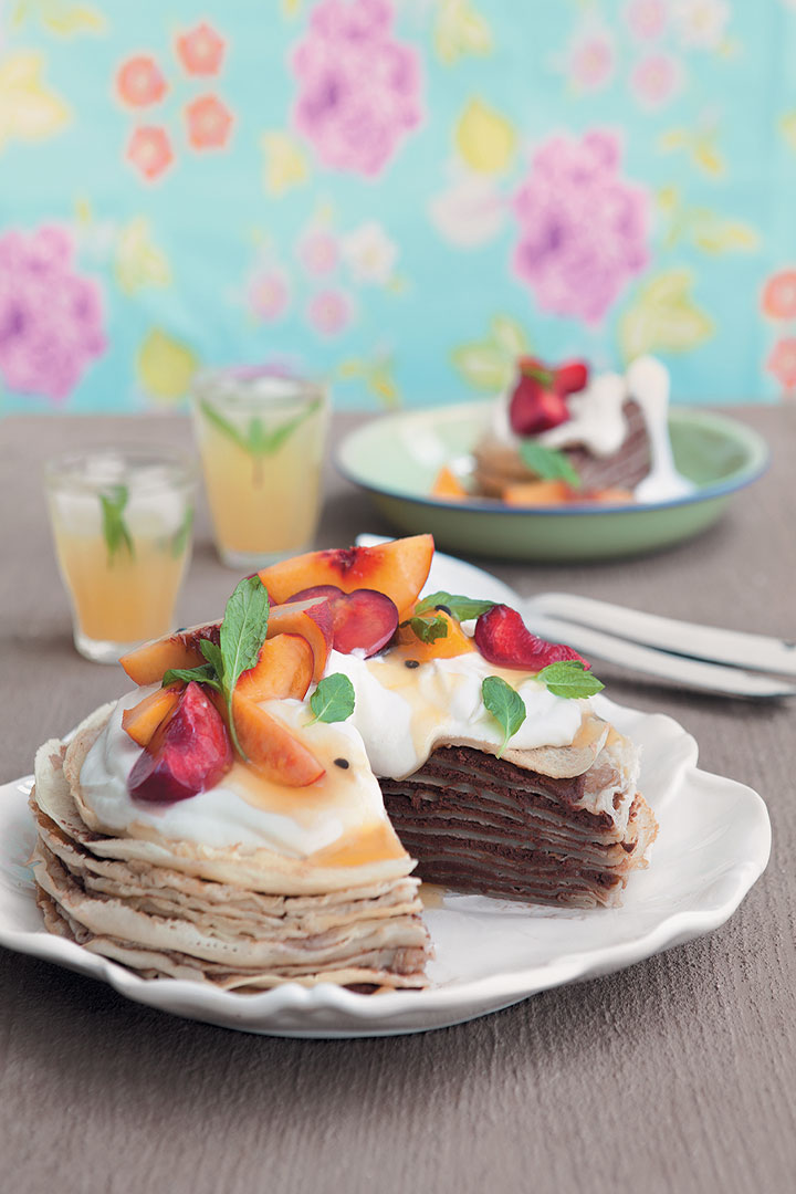 Peach crepe cake recipe