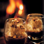 Creamy risotto pudding with hot chocolate sauce