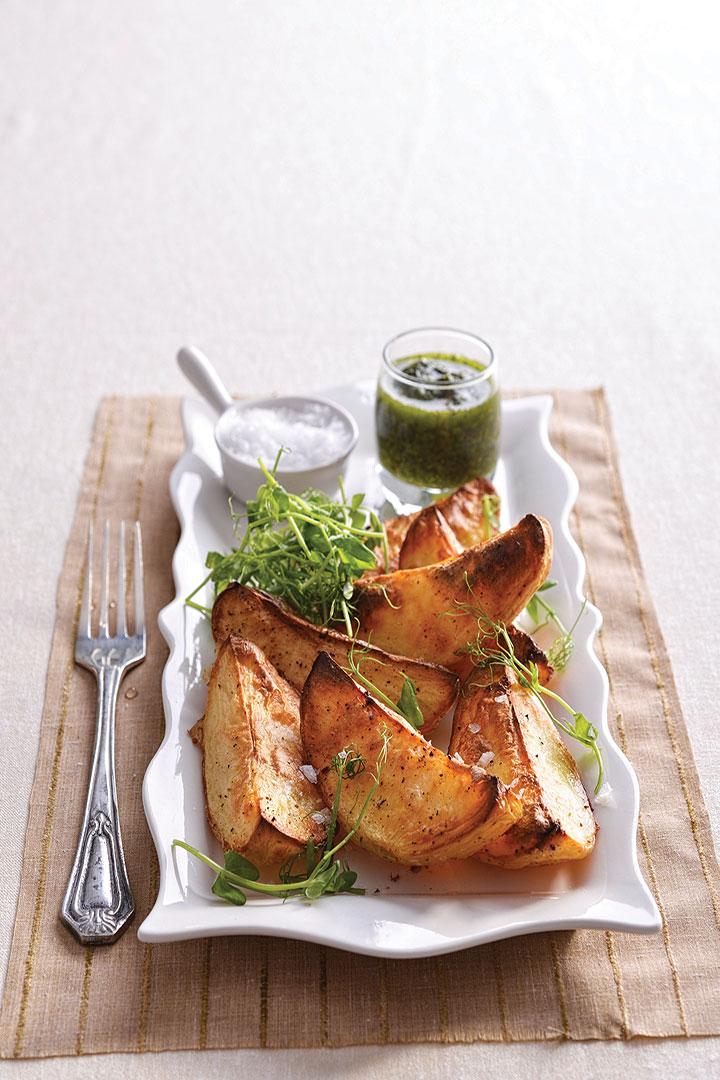Crisp potato wedges with chimichurri recipe