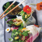 Crystal spring rolls with chargrilled tuna, avocado, apple and herbs