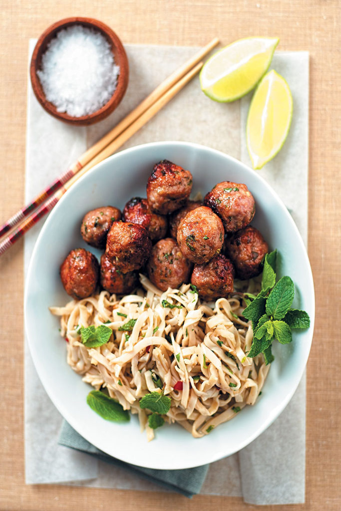 Curried pork meatballs with zesty noodles recipe