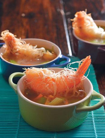 Fish broth with deep-fried kataifi-wrapped prawns recipe