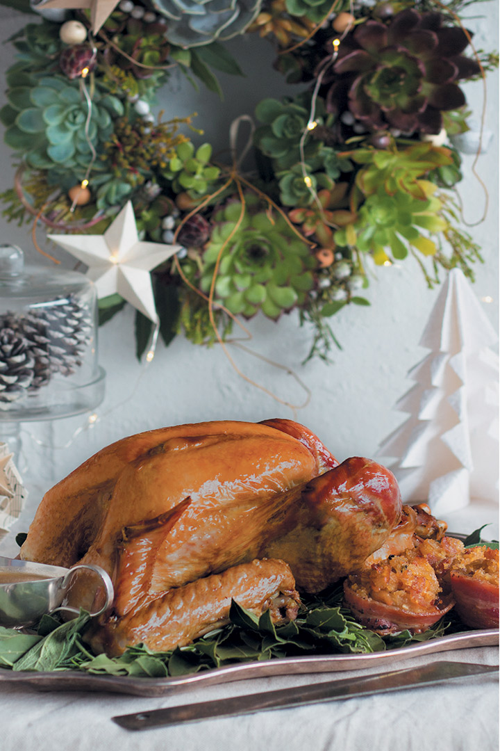 French-roast turkey with sage, pear and bulgur wheat stuffing recipe