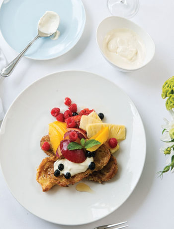 French toast with mascarpone, fruit and muscadel syrup recipe