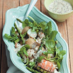 Grilled asparagus, baby potato and lobster salad with sweet mustard dressing
