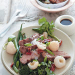 Grilled pork, litchi and green salad with a soy sauce dressing