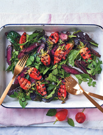 Grilled strawberry and biltong salad