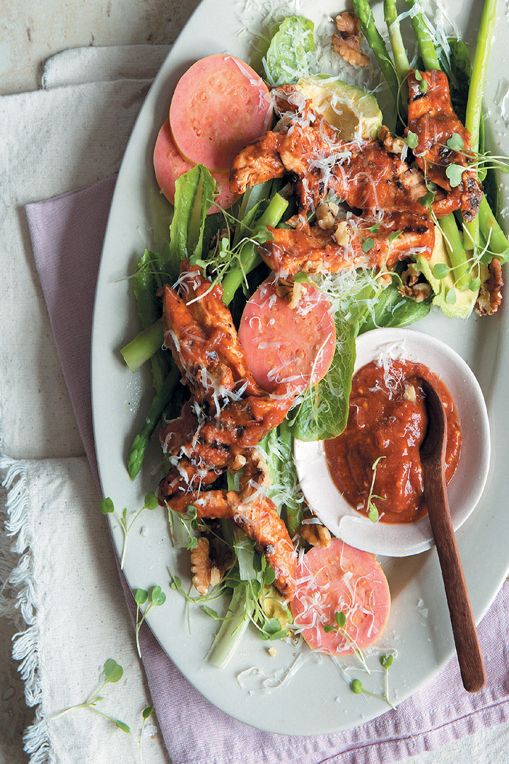 Guava BBQ-marinated chicken salad recipe