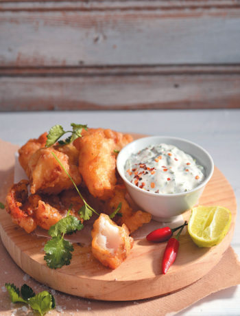 Hake goujons with a minty dipper recipe