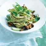 Hot and sour cucumber with sticky mushroom noodles
