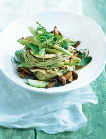 Hot and sour cucumber with sticky mushroom noodles recipe